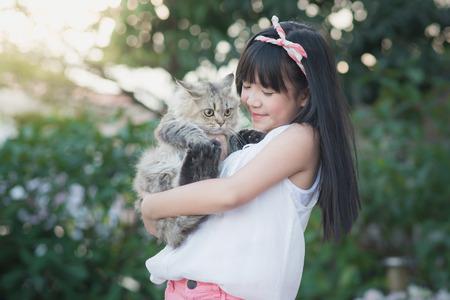 공원에서 햇빛 사랑스러운 페르시아 고양이를 보유하는 아름 다운 아시아 여자 스톡 콘텐츠