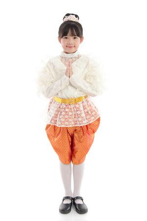 Beautiful Asian girl welcome expression Sawasdee Stock Photo