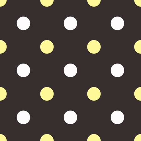 two tone: White and yellow polka dots on brown background Stock Photo