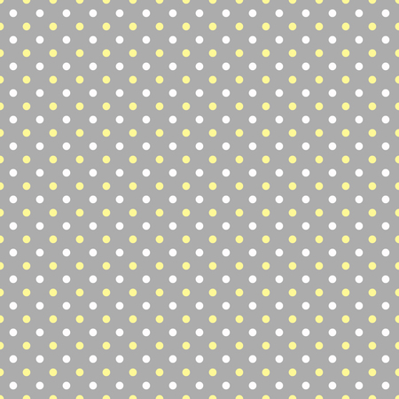 grey: White and yellow polka dots on grey background