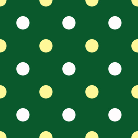 two tone: White and yellow polka dots on green background