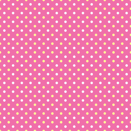 two tone: White and yellow polka dots on pink background Stock Photo