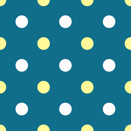 two tone: White and yellow polka dots on blue background Stock Photo
