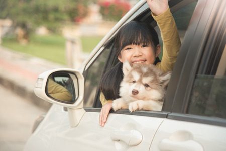 japanese children: Happy asian asian girl and siberian husky puppy sitting in the car Stock Photo