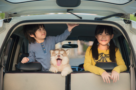 Happy asian children and siberian husky puppy sitting in the car Stok Fotoğraf