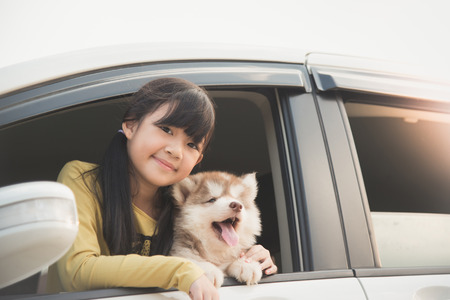 road trip: Happy asian asian girl and siberian husky puppy sitting in the car Stock Photo