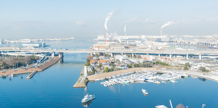 industrail: Aerial view of Port in Osaka Japan