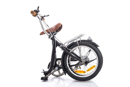 Black folding bike isolated on a white background Stok Fotoğraf
