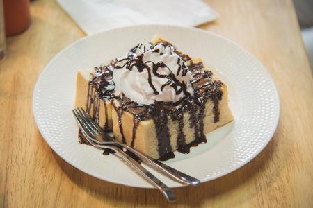 close uo: Close uo of honey toast on white dish