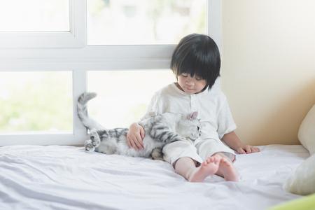 白いベッドの上のアメリカンショートヘア子猫と一緒に遊んでかわいいアジアの赤ちゃん