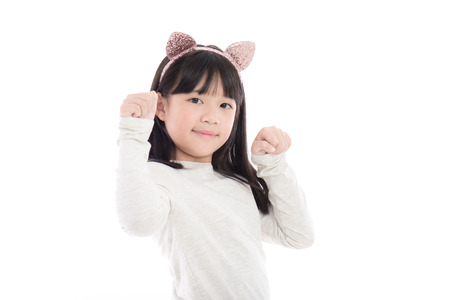 hairband: Portrait of beautiful Asian girl with cat ears on white background isoated