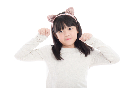 isoated: Portrait of beautiful Asian girl with cat ears on white background isoated