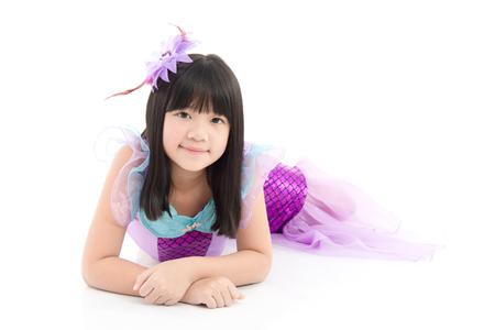 seamaid: Beautiful Asian girl in fantasy mermaid costume on white background isolated