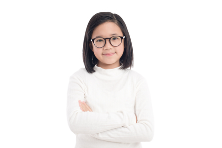 Portrait of beautiful asian girl wearing glasses on white background isolated Stock Photo