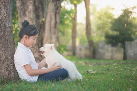 Beautiful asian girl hugging siberian husky puppy in the park Stock Photo
