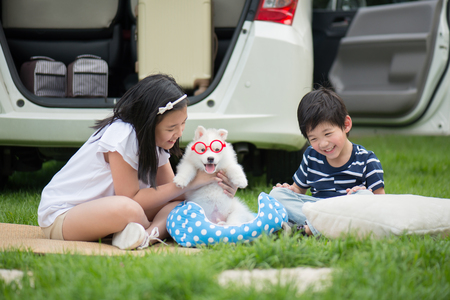 Asian children playing with siberian husky puppy in the park Stok Fotoğraf - 80111786