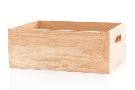 Wooden box on white background isolated