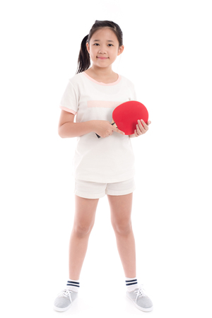 Beautiful Asian girl  playing table tennis on white background isolated Stock Photo