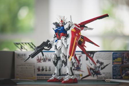 BANGKOK, THAILAND - JULY 27, 2016: Plastic model of GAT-X105 Aile Strike Gundam Ver.RM  Master grade scale 1:100 Editorial
