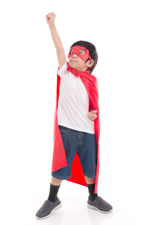 Portrait of Asian child in Superhero's costume on white background isolated 스톡 콘텐츠
