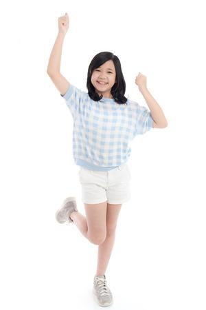 Asian girl show winner sign on white background isolated,studio short