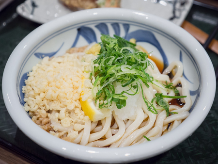 Close up of Japanese Noodle or udon in Cold Soup