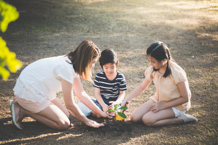 Cute Asian children and mother planting young tree on the black soil