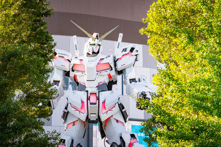 Odaiba,Toky, Japan-Jul 1 2018: Real Scale Unicorn Gundam Robot Model at Diver City Tokyo Plaza Mall in Odaiba