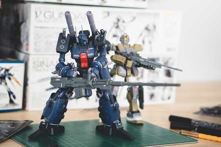 BANGKOK, THAILAND - August 8, 2018 :Plastic  model of RE100 MSA-005K GUNCANNON DETECTOR