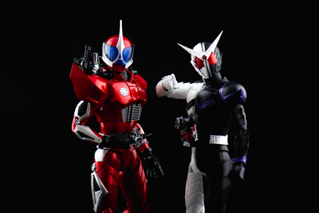 BANGKOK, THAILAND - August 28, 2018:Close up of S.H.Figuarts Kamen Rider Accel and Kamen rider w fang joker from tv series