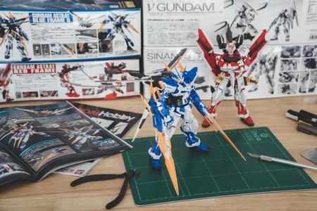 BANGKOK, THAILAND - August 9, 2018 :Plastic  model o(MG) Gundam Astray Red Frame kai &Gundam Blue Frame D Editorial