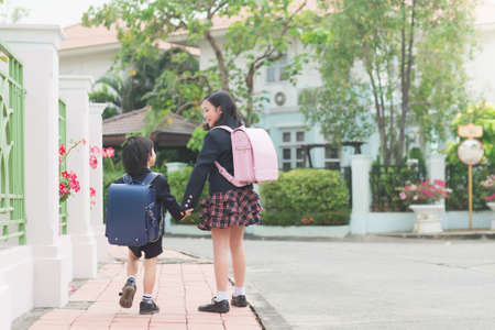 Cute Asian children holding hand together while going to the school