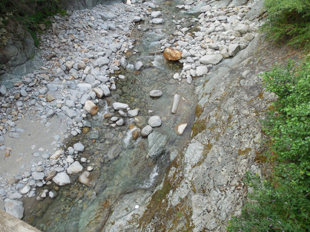 dust pan: gold river in Italy with clear water