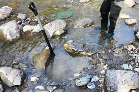 prospector: La minería de oro Nugget del río, con una cuchara de oro, limpieza de arena negro, y encontrar alguna pequeña pepita de oro