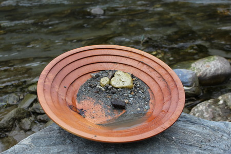 nugget: Gold Nugget at panning for gold.