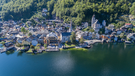 austrian village: Famous Hallstatt mountain village and alpine lake, Austrian Alps, blue lake in summer Stock Photo