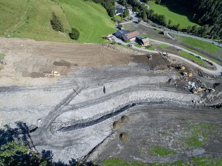 landfall: Mudslides scar the hillsides of austria following heavy rain. Europe