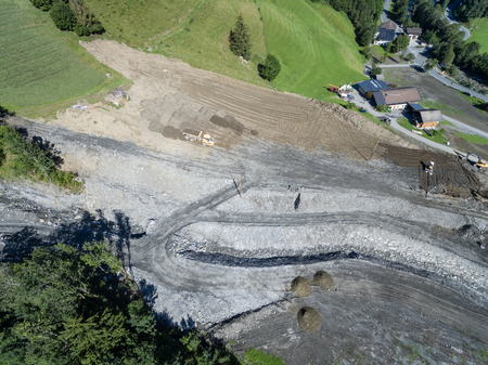 hillsides: Mudslides scar the hillsides of austria following heavy rain. Europe