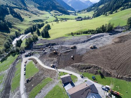 convulsion: Mudslides scar the hillsides of austria following heavy rain. Europe
