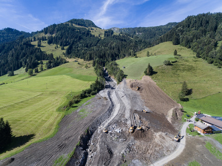 slump: Mudslides scar the hillsides of austria following heavy rain. Europe