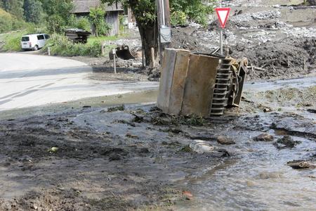 rauris: Mudslides scar the hillsides of austria following heavy rain. Europe