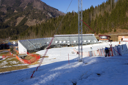 timekeeping: HINTERSTODER,  AUSTRIA - February 22, 2016: Countdown, The Austrian team is working at full speed to complete the world cup slope and the finish area for competitions on 26 to 28 February 2016 Hinterstoder. Editorial
