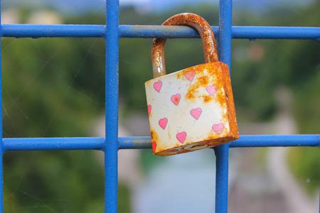 love lock over the river on a Bridge Stock Photo