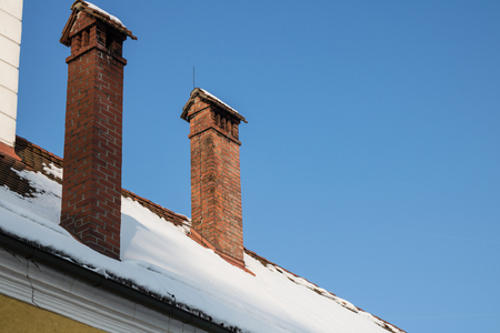 Chimney on house.
