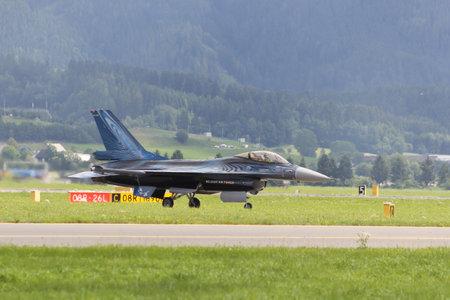 lockheed martin: ZELTWEG, AUSTRIA - JULY 02, 2011: aircraft, LOCKHEED MARTIN F-16AM FIGHTING FALCON, airpower