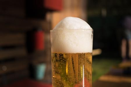 biergarten: cold beer in frosty glas, biergarten, fresh
