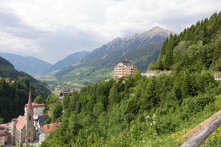BAD GASTEIN, AUSTRIA, MAY 30, 2017: View of hotels in the austrian spa and ski resort bad gastein. Editorial