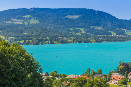 Beautiful landscape at lake Attersee in Steinbach, Salzkammergut in Austria