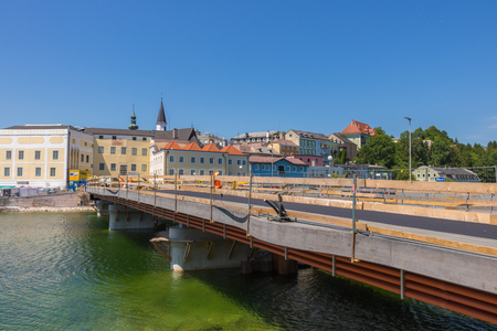 GMUNDEN, AUSTRIA July 21, 2017: Building site of the bridge to Gmunden, across the river Traun