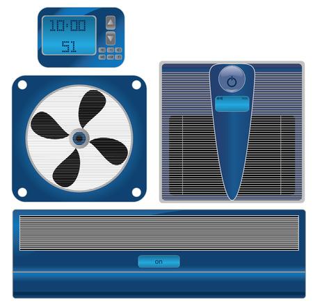 digital thermometer: Termometro vettoriale digitale e aria condizionata Vettoriali